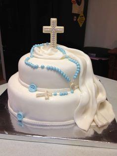 First communion cake Boys First Communion Cakes, Boy Communion Cake, Beautiful Cake Designs, Beautiful Cakes, Baptism Cupcakes, Cross Cakes, Religious Cakes, Confirmation Cakes, Celebration Cakes