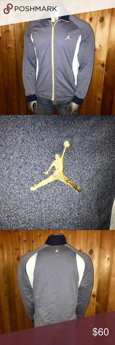 Nike Air Jordan Jumpman Track Jacket Size: U.S. Men's XL Color: Blue/Gold Nike Air Jordan Jumpman Dri-Fit Full Zip, Two Zippered Pockets, Pull Strings on Hem 100% Polyester Regular Fit Made in China  Excellent Condition! No rips, stains, tears, pulls, pills or fading  Jacket comes from a smoke and pet free home  Thanks for looking! Air Jordan Jackets & Coats Performance Jackets