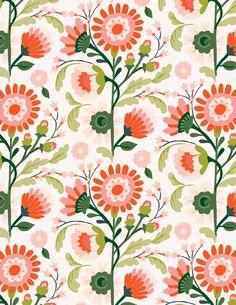 Jill De Haan - Floral 3 ways - 3 of 3 ~ beauty pattern ~ Pretty Patterns, Beautiful Patterns, Flower Patterns, Color Patterns, Motifs Textiles, Textile Prints, Textile Patterns, Textile Pattern Design, Flower Pattern Design