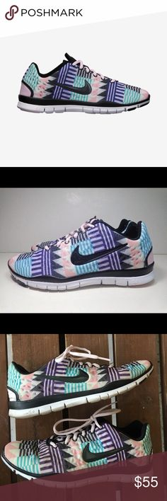 NIKE FREE TR fit 3 Aztec tribal print Nike free TR fit 3 Aztec print. Size 8.5 in good EUC. Bottom on the inside of the shoe comes out Nike Shoes Sneakers