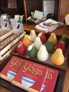Pear and apple shaped candles available as well as VERY interesting and unique books!