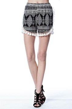 Steezyer> Shorts> SNP1523 Black ORNATE PRINT HIGH WAISTED SHORTS usfashionstreet.com