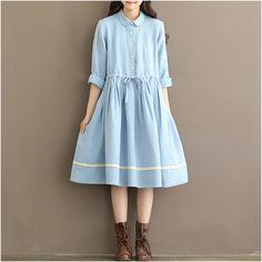 Sky blue linen and cotton dress,long sleeve petan collar autumn and spring dress,A line gown dress,linen loose fitting dress,tunic