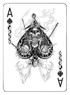 Jet City Limited is raising funds for Antithesis - A Deck of Playing Cards Printed by the USPCC on Kickstarter! A new deck of playing cards with original illustrations by Seattle artist & designer Adam Valmassoi, printed by the USPCC in the USA. Playing Cards Art, Custom Playing Cards, Spade Tattoo, Joker Card, Art Carte, Ace Of Spades, Card Tattoo, Skull And Bones, Deck Of Cards