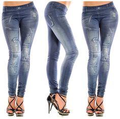 ab84beb7d7b7f Women New Stylish Faux Jean Denim Jeggings Leggings Pants for Girls ladies  Denim Jeans, Skinny