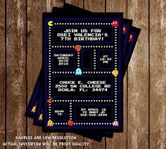 Classic Pac-Man Birthday Party Invitation