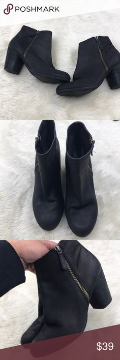 B.P Nordstrom Leather Black Booties Size 8.5 In great preowned condition — worn a couple times. Cleaned and ready for a new home.   Size 8.5– fits true to size.   Sorry, no trades. Offers welcome! bp Shoes Ankle Boots & Booties
