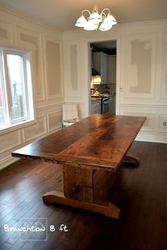 Reclaimed Wood Dining Room / Kitchen Table with epoxy finish. - Reclaimed Wood Dining Room / Kitchen Table with epoxy finish. Dinning Room Tables, Trestle Dining Tables, Wood Tables, Diy Farmhouse Table, Rustic Table, Rustic Kitchen Tables, Reclaimed Wood Dining Table, Table Plans, Ontario