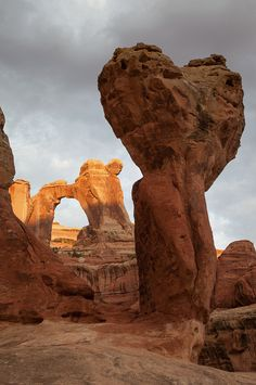 ~ Angel Arch & Molar Rock - Arches National Park, Utah....