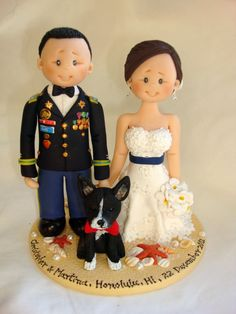 US Army Groom & Bride with one dog wedding cake by ALittleRelic