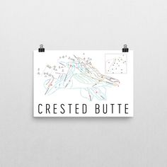 Crested Butte Ski Map Art, Crested Butte CO, Crested Butte Trail Map, Crested Butte Ski Resort Print, Crested Butte Poster, Art, Gift