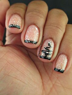 Spellbound Nails Pish Salver, Drink Me, black tips, white glitter, silhouette, Christmas, Christmas Tree, snow, simple, easy, nails, nail art, nail design, mani