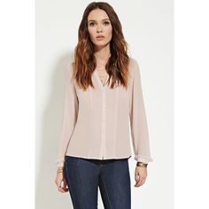 Forever 21 Women's  Pintucked Chiffon Blouse ($16) ❤ liked on Polyvore featuring tops, blouses, collared blouse, long sleeve blouse, pintucked blouse, pink chiffon top and pink top