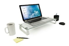 Amazon.com : Mount-It! MI-7262 Computer Monitor Riser and Laptop Stand, Ergonomic Flat Screen Display Mount, Desktop Stand and Organizer, Glass and Aluminum Construction, 22 Inches Wide, 44 lb Carrying Capacity : Office Products