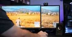 Player Unknowns Battlegrounds on XL2546 on left next to productivity monitor on the right