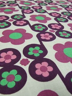 Purple Mod floral cotton - available from Rainbow Vintage Home online shop