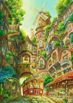 New fantasy landscape art cityscapes drawings ideas Fantasy City, Fantasy Kunst, Fantasy Places, Fantasy World, Fantasy Art Landscapes, Fantasy Landscape, Landscape Art, Arte Indie, Dream Drawing