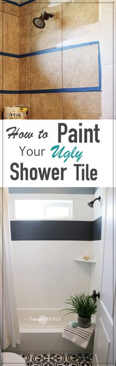 Dream Home Interior How to Paint Shower Tile - Remington Avenue.Dream Home Interior How to Paint Shower Tile - Remington Avenue Easy Home Decor, Cheap Home Decor, Home Renovation, Home Remodeling, Bathroom Renovations, Painting Shower, Painting Bathroom Tiles, Painting Tile Floors, Bathroom Canvas