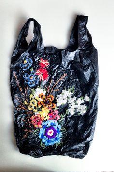 El Barrio Bodega by Nicoletta de la Brown, via Behance Textile Sculpture, Textile Art, Textile Design, Fabric Design, Plastic Grocery Bags, Plastic Art, Textiles, A Level Art, Recycled Fashion