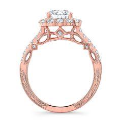 18K ROSE GOLD ROUND SHAPE HALO ENGAGEMENT RING NK35965-R