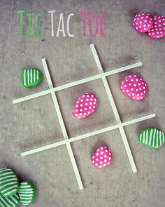 7 Creative Ways To Paint Rocks - Handmade Charlotte DIY Tic-Tac-Toe With Painted Rocks - Have the kids each make their own set of rocks at the beginning of the year and pull out for a fun break as needed. They need more practice with these logic games. Easy Crafts For Kids, Summer Crafts, Projects For Kids, Diy For Kids, Diy And Crafts, Summer Diy, Simple Crafts, Tape Crafts, Garden Projects