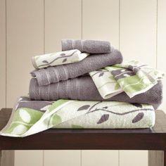 6 pc Yarn Dyed towel Organic Vines Ash Grey, Gray