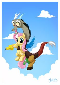 Discord and Fluttershy by *mysticalpha on deviantART