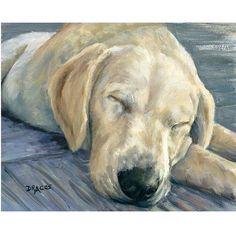 Labrador Retriever Dog Art Print of Original Painting by Dottie Dracos, Yellow Lab Puppy Sleeping