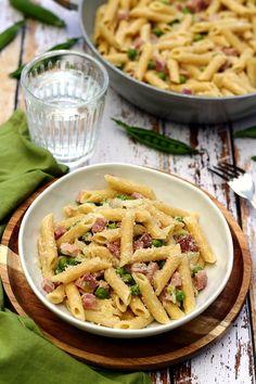 Pâtes aux petits-pois, jambon et parmesan - Amandine Cooking