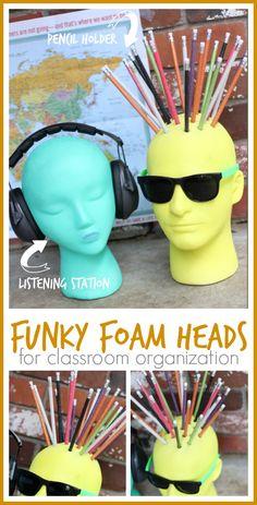 DIY Funky Foam Heads for dorm room or classroom organization