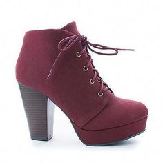 Agenda Burgundy Nubuck by Soda, Lace Up Ankle Bootie w Chunky Stacked Heels Cute Heels, Lace Up Heels, Dress And Heels, Lace Up Boots, Pumps Heels, Platform Ankle Boots, High Heel Boots, Shoe Boots, High Heels
