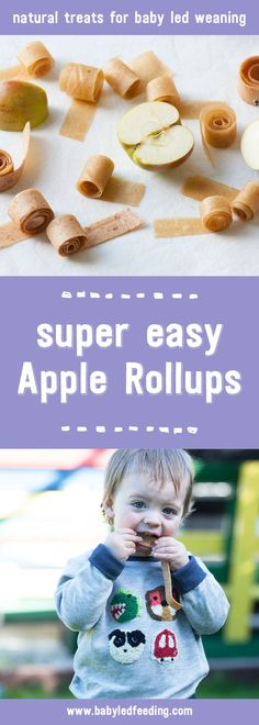 These healthy Apple Rollups are super easy to make. They're naturally sweetened from fruit and can be easily sucked on for baby led weaning.