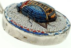 Victorian Sterling 3-Dimensional Micro Mosaic Scarab Pendant from abrandtandson on Ruby Lane
