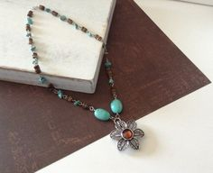 Turquoise and Brown Crystal Pendant Necklace on Etsy, $18.00