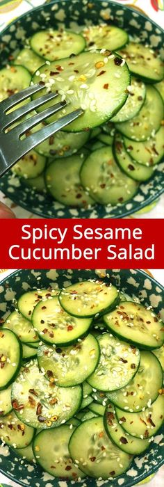 I love this Asian sesame cucumber salad! So yummy marinated in vinegar with sesame seeds and spicy red pepper flakes, mmmmm! So addictive, I can crunch those sesame cucumber slices all day! Add Swerve instead if Sugar to make this Keto Asian Cucumber Salad, Cucumber Recipes, Vegetable Recipes, Diet Recipes, Vegetarian Recipes, Cooking Recipes, Healthy Recipes, Cucumber Ideas, Vegetarian Meals
