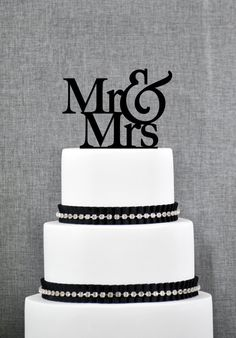 Mr and Mrs Traditional and Elegant Wedding Cake Toppers in your Choice of Color