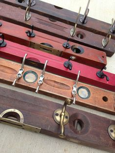 Wooden Level Hook Rack by bluebirdheaven on Etsy, Fathers Day, Gift Guide, vintage level, industrial design, up-cycled storage, repurposed, industrial chic, for dad, carpenter