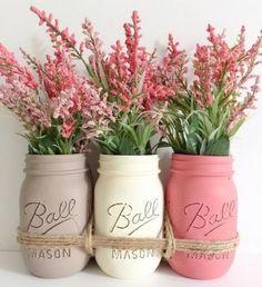 Rustic Shabby Chic Valentine's Day Decor * Creme/Tan/Pink * Painted Mason Jars * Wedding Ideas Turned Into Everyday DIY Decor Inspiration! Vintage Hand Painted Mason Jars Turned Vases * Romantic Country Living!