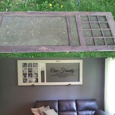 Old screen door to 7 ft wall art! Pictures, mirror, and vinyl family quote