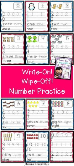 These Write On, Wipe Off Number Mats make handwriting practice fun! Numbers 0 - 10. Great for preschool, kindergarten, and first grade.