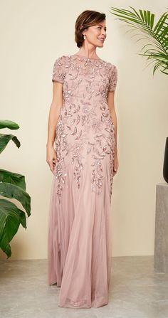 bdf81fd5145 Floral Beaded Godet Gown with Sheer Short Sleeves. Bridesmaid DressesBride DressesFormal  DressesWedding DressesGroom DressAdrianna PapellMother ...