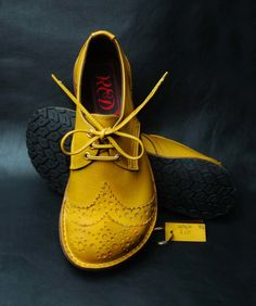 R.E.D Portfolio - Mustard shoes with brogue toe cap...handmade in Wales...must go to Wales.