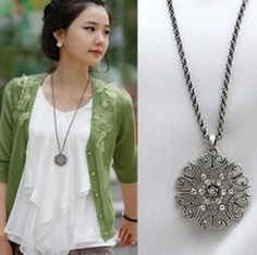 N353 fashion major circular hollow flower long necklace sweater chain jewelry.Free Shipping! wholesale!