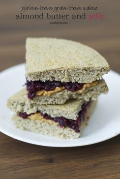 Almond butter jelly plantain bread sandwich made with homemade sugar-free jelly with gelatin! #paleo #grainfree #lowsugar    purelytwins.com