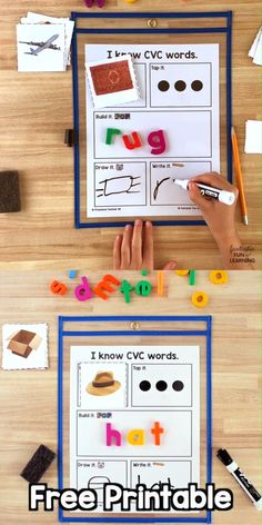 Help kindergarteners and first graders learn to spell short vowel CVC words with this free printable CVC Word Building Mat and picture card prompt set. Phonics printable for kindergarten and first grade.