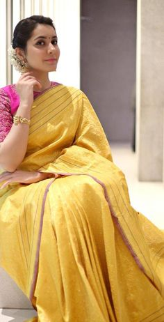 Rashi Khanna Photos In Yellow Saree At Director Krish Marriage