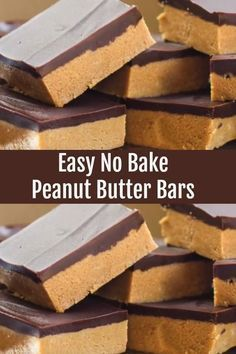 Easy No Bake Peanut Butter Bars. No Bake Peanut Butter Bars take only 5 ingredients and 10 minutes (plus chilling time). Easy No Bake Peanut Butter Bars. No Bake Peanut Butter Bars take only 5 ingredients and 10 minutes (plus chilling time). Peanut Butter Dessert Recipes, Peanut Butter Chocolate Bars, Easy No Bake Desserts, Fudge Recipes, Candy Recipes, Delicious Desserts, Easy Chocolate Desserts, Fast And Easy Desserts, Salted Chocolate
