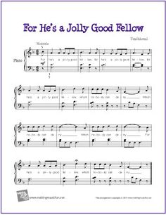 For He's a Jolly Good Fellow | Free Sheet Music for Piano (Scheduled via TrafficWonker.com)