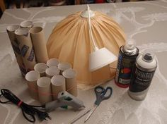 LUOVA KELLARI: Tyhjistä vessapaperirullista lampunvarjostin Tool Organization, Organizing Tools, Icing, Diy And Crafts, Handmade, Home Decor, Clever, Paper, Homemade Home Decor