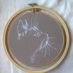 white cat embroidery art, hoop embroidery art Excited to share the latest addition to my shop: white cat embroidery art, hoop embroidery ar Embroidery Designs, Hand Embroidery Stitches, Embroidery Hoop Art, Cross Stitch Embroidery, Hand Stitching, Sewing Stitches, Embroidery Jewelry, Embroidery Techniques, Machine Embroidery